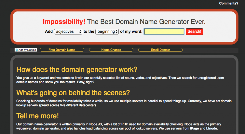 Impossibility-domain-name-search