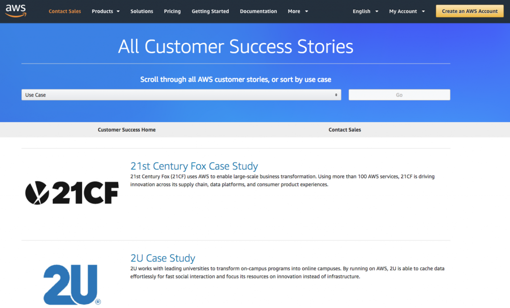 Amazon Web Services (AWS) publishes Case Studies regularly to attract clients with similar challenges.