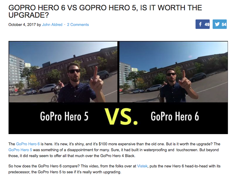 A comparison by DIYPhotography.com of the GoPro 5 vs 6 uses actual images taken from each camera model to compare quality and features.