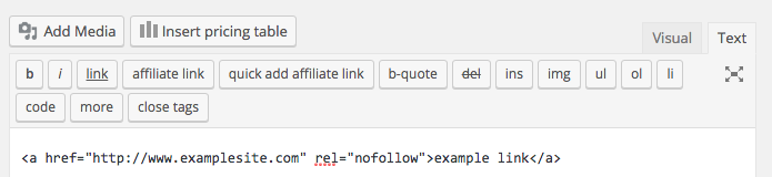 wordpress-nofollow-link-text-editor