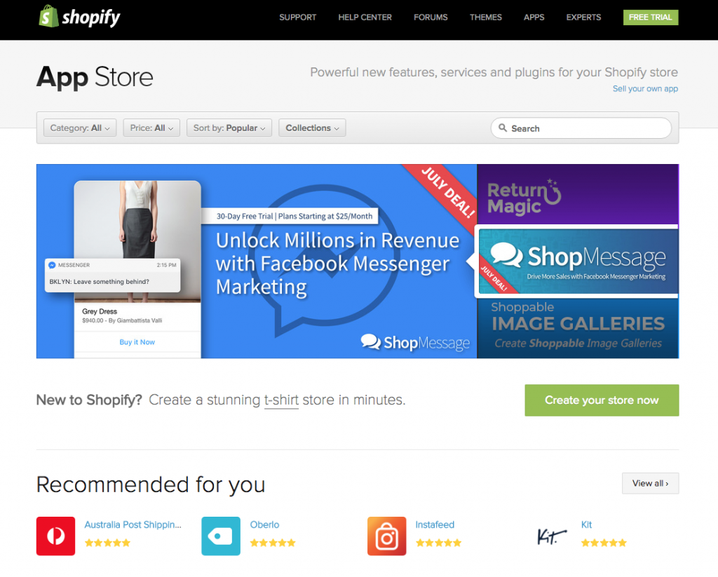 The Shopify app store offers a vast range of enhancements to your online store, both free & paid.